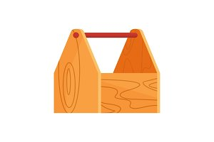 wooden empty toolbox icon