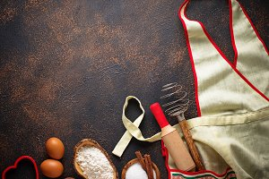 Ingredients for baking and apron