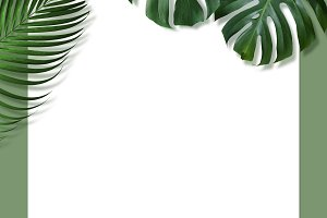 Tropical leaves and blank paper