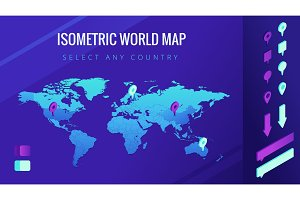 World map isometric vector illustration