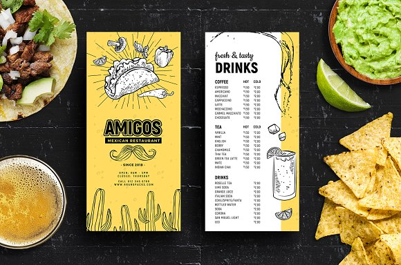 DL Mexican Menu Rack Card Template