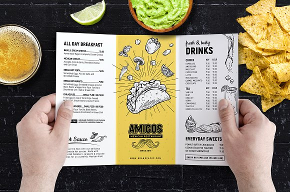 Tri-Fold Mexican Menu Template