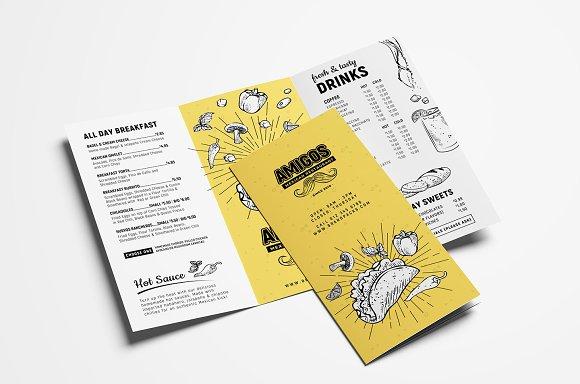 tri fold mexican menu template brochure templates creative market