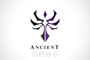 Ancient Sword Emblem Logo Template