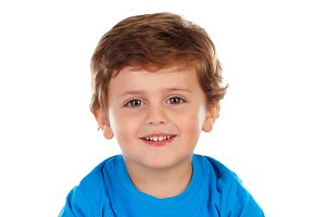 Cute child with blue t-shirt