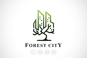 Forest City Tree Logo Template