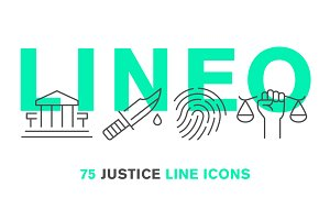 LINEO - 75 JUSTICE LINE ICONS