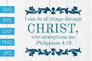 Philippians 4 13 Scripture SVG File