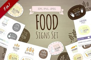 9 in 1! Food signs set