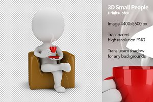 3D Small People - Drinks Coffee