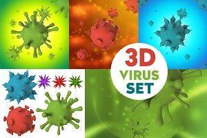 Virus, Bacteria, Cell 3D Set