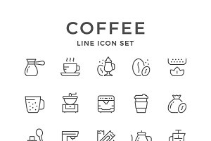 Set line icons of coffee