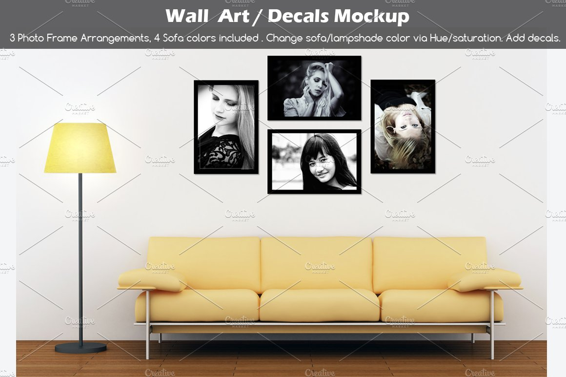 Wall art / decals / poster Mockup v2 ~ Product Mockups ~ Creative Market