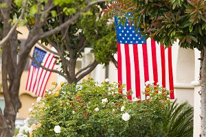 Front Porches with American Flags