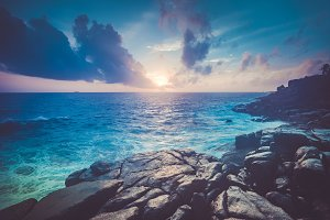 Magnificent sunset ocean scenery. Unawatuna.