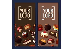 Vector vertical card or flyer illustration with cartoon chocolate candies