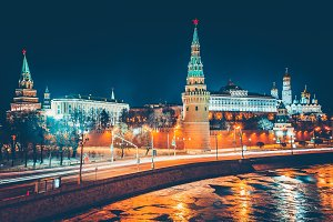 The view of Kremlin from the bridge. Moscow.