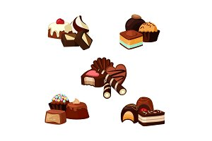 Vector set of cartoon chocolate candy piles illustration