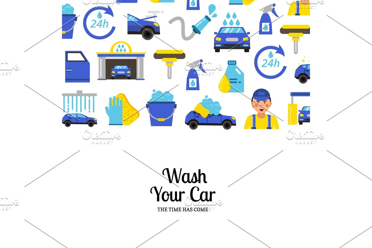 Vector Background With Car Wash Flat Icons Graphics Creative Market