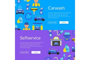 Vector web banners illustration with car wash flat icons