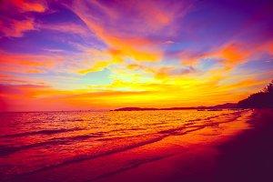 Fairy tale sunset over the ocean. Thailand.