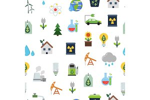 Vector pattern or background illustration with ecology flat icons
