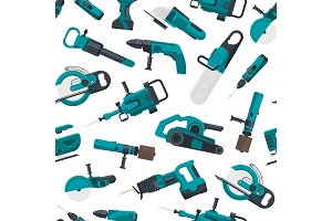 Vector pattern illustration with electric construction tools