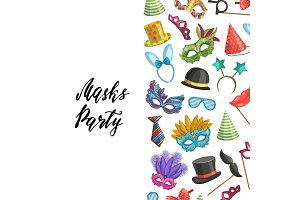 Vector background masks and party accessories