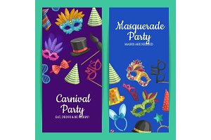 Vector card or flyer illustration with masks and party