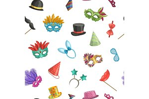 Vector pattern or background illustration with masks and party accessories