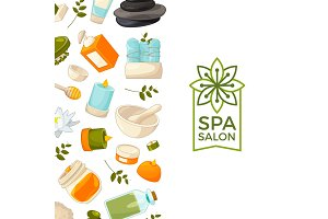 Vector background cartoon beauty and spa elements