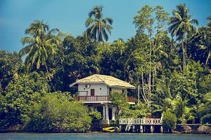 Building surrounded by tropical forest. Sri Lanka.