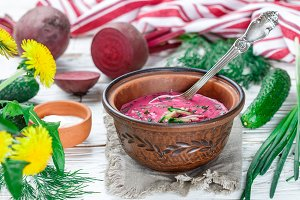 beetroot soup with cucumber, dill