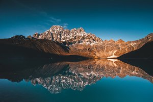 Gokyo Lake on the Himalayas mountains background.