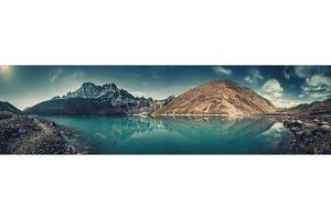 Panoramic view. Gokyo Lake. Himalayas.