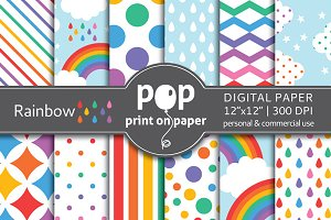 Rainbow - 12 digital papers