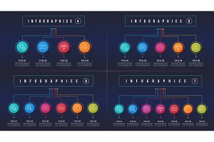 Vector 4 5 6 7 options infographic designs, structure charts, pr