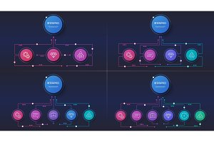 Vector 3 4 5 6 options infographic designs, structure charts, pr