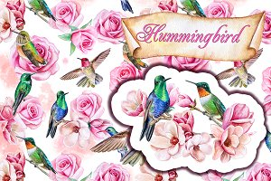 Hummingbirds and flower ornaments