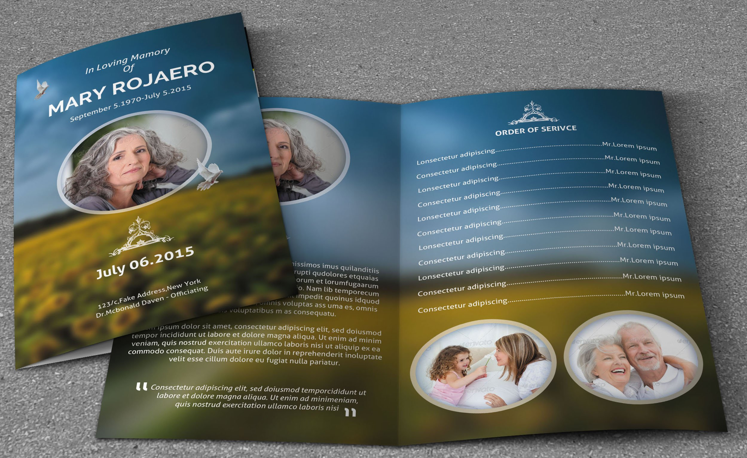 elegance funeral program v103 brochure templates creative market