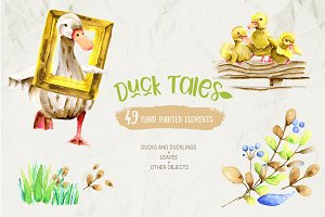 Watercolor ducks and ducklings