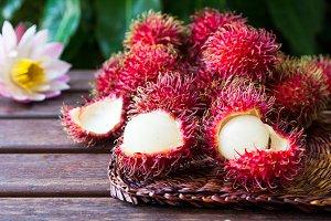 Fresh ripe rambutans