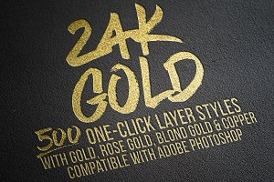 500 Gold Foil Layer Styles Photoshop