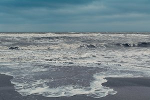 Storm beach waves