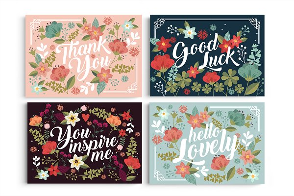 Card Templates: Werlang Paper - Floral Postcard Collection