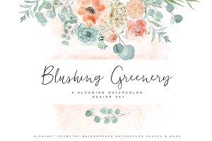 Blushing Greenery - Watercolor Set