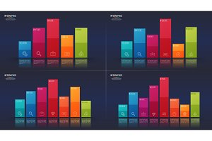 Easy editable vector 5 6 7 8 options infographic designs, bar ch