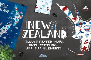 New Zealand. Illustrated map.