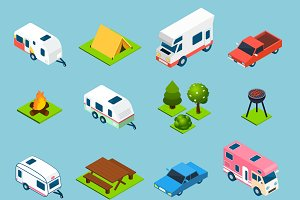 Camping and travel isometric icons