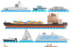 Water transport decorative icons set